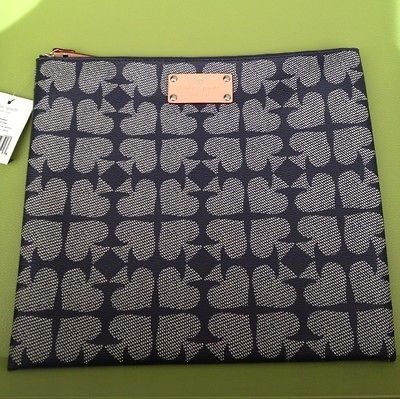 * KATE SPADE Pebbled Ace of Spades Adrianne Navy/Tan Bag WKRU1241 $98