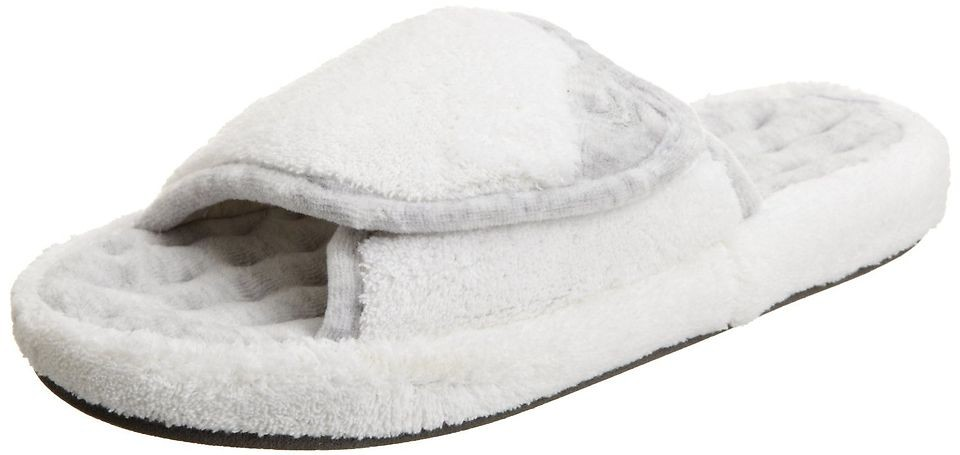 Isotoner White Womens Microterry Spa Slide Indoor/Outdoor Slipper