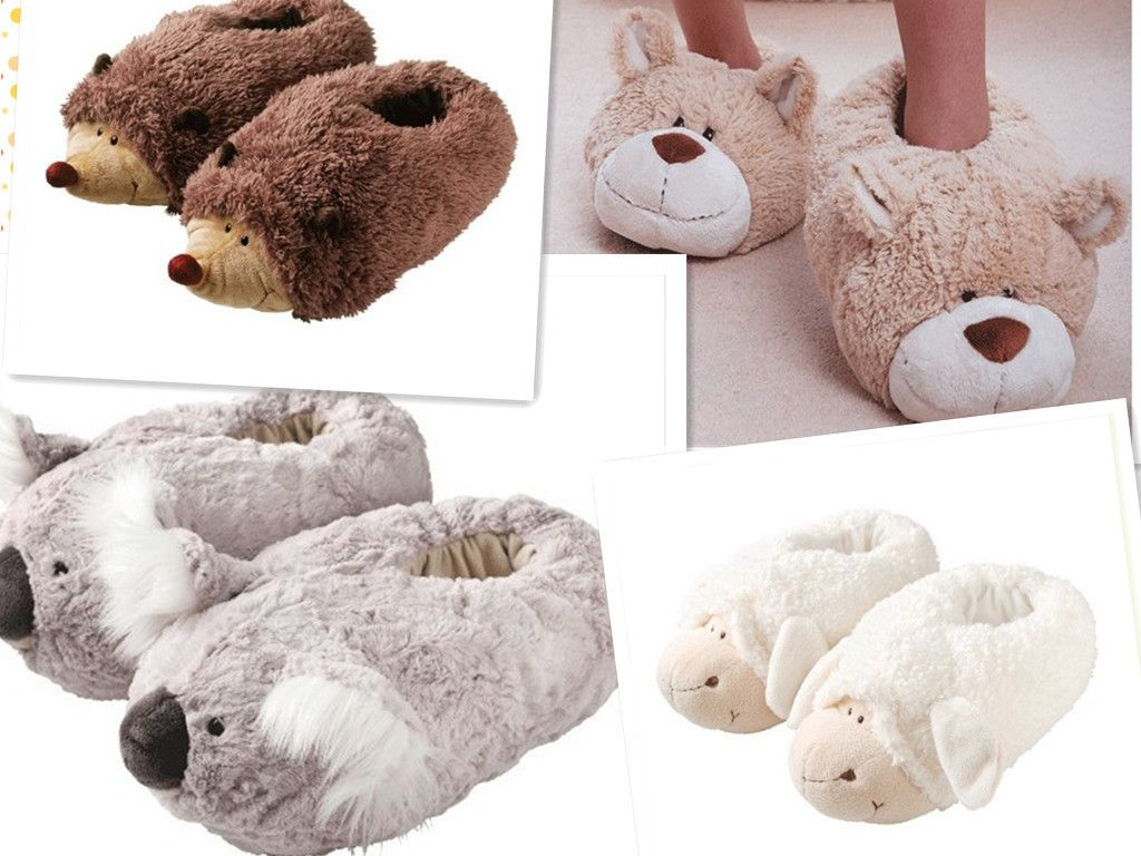 Aroma Home Ultra Soft Plush Fur Warm Comfort NICI Animal Kids Slippers