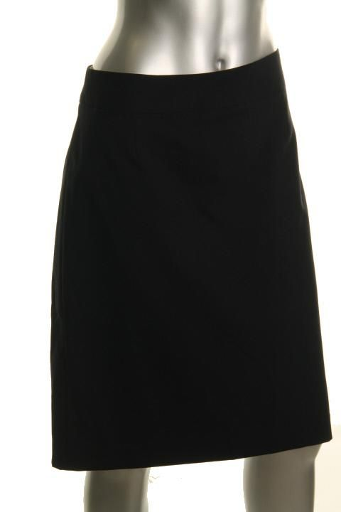 Anne Klein New Classique Black Wool Back Slit Knee Length Straight