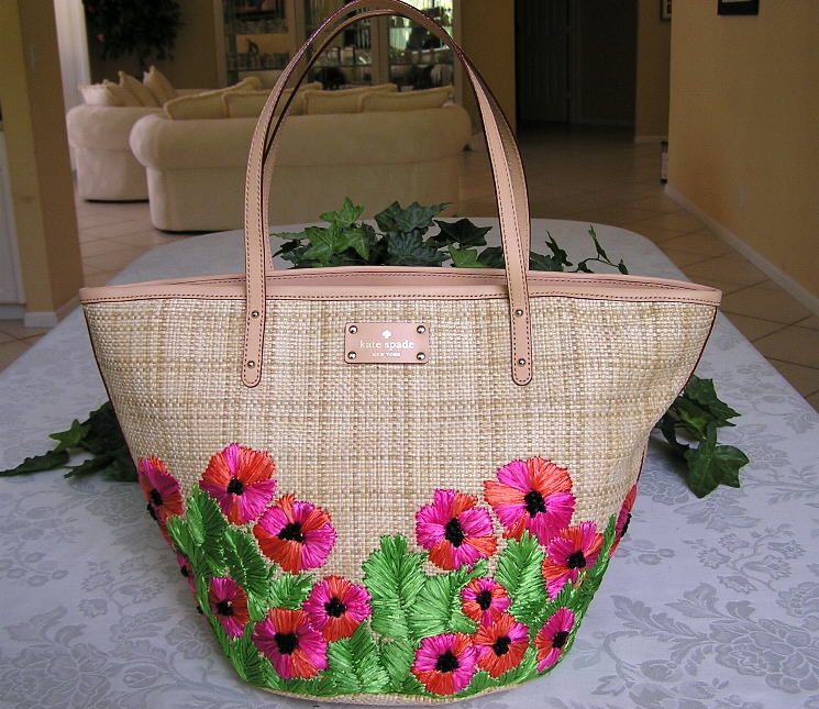 New Kate Spade Boscobel Small Coal Floral Straw Bag Purse Tote