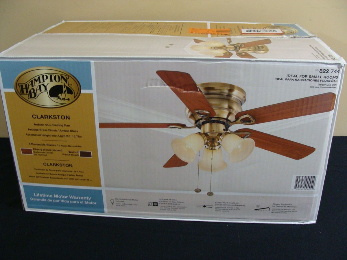 Hampton Bay Clarkston 44 Ceiling Fan with Light Kit Premium Antique