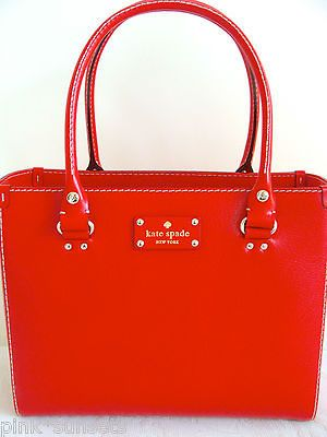 KATE SPADE Wellesley Quinn Geranium Red Leather Tote Bag Handbag $398