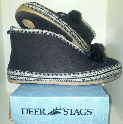 Deer Stags Slipperooz Moccasins Black Indoor Outdoor Slipper Slip on