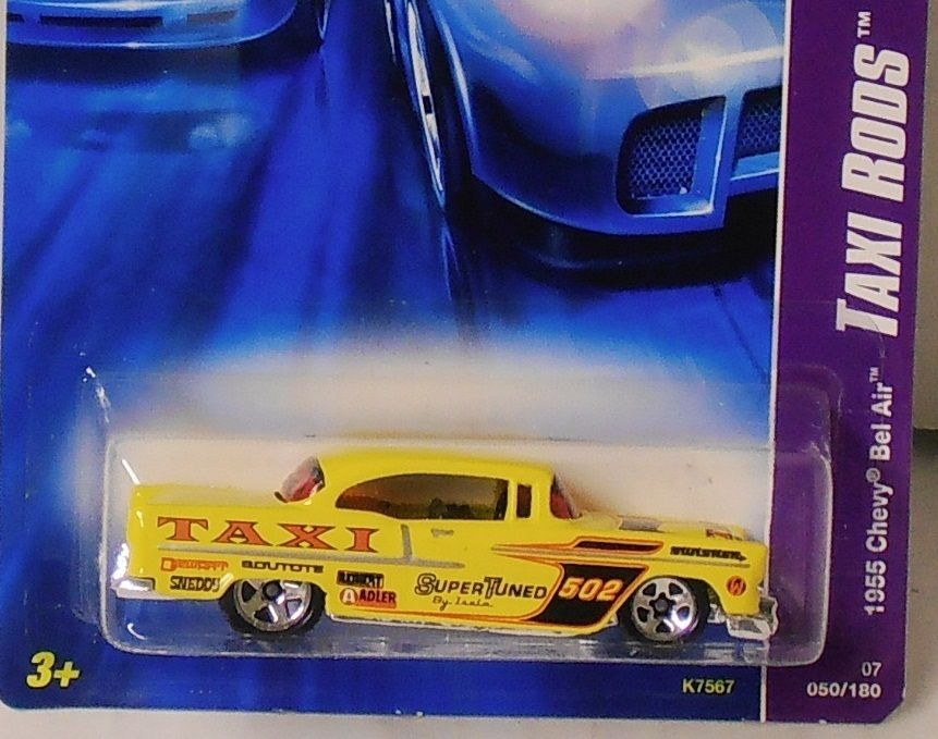 2007 Hot Wheels Taxi Rods Series 1955 Chevy Bel Air 1 64 Scale NIP 2 4